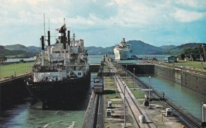 PANAMA CANAL, 1940-60s; Miraflores Locks, View from control tower