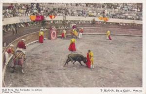 TIJUANA, Baja California, Mexico, 1900-1910's; Bull Ring, The Toreador In Act...