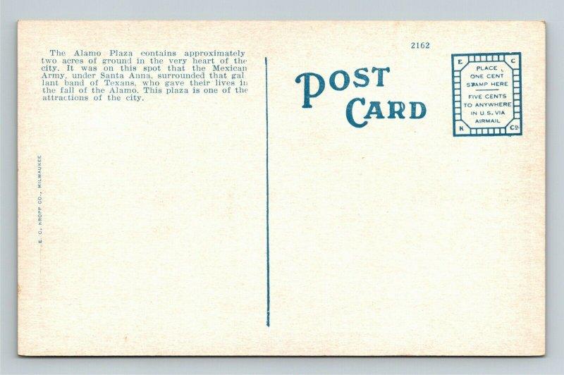 San Antonio TX, Alamo Plaza, Band Stand, Vintage Texas Postcard