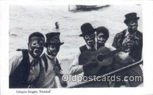 Calypso Singers, Trinidad, Advertising Cunard Line on Back Minstel  Post Card...