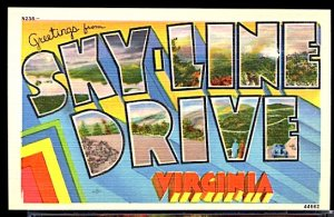 USA Postcard Large Letter Greetings From Sky Line Drive Virginia