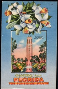 Greetings from FLORIDA with Lilies and The Singing Tower LAKE WALES LINEN