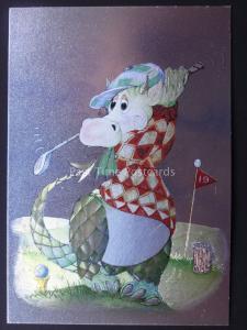 CARTOON DRAGON THE GOLF PLAYER c1985 by F J Warren DUFEX FOIL Postcard