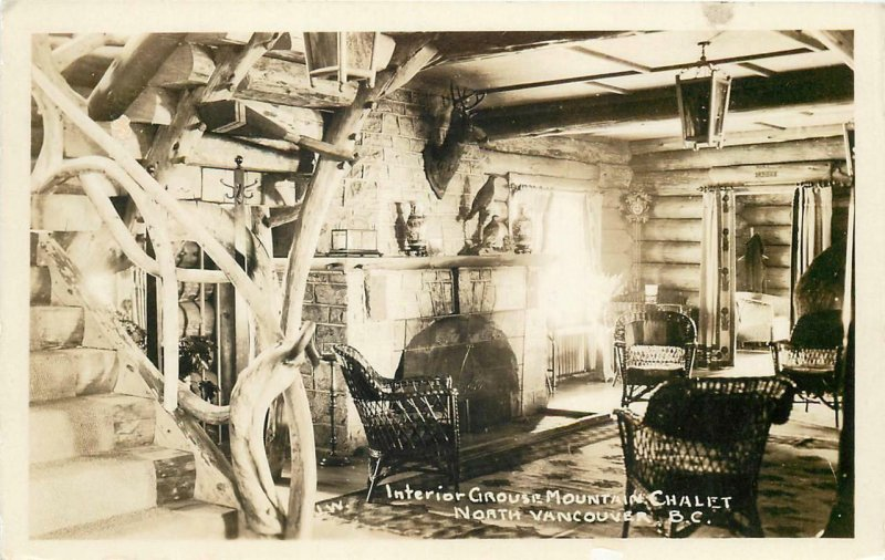 RPPC NORTH VANCOUVER BC Grouse Mountain Chalet Interior Canada Postcard ca 1930s