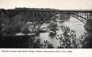 Minneapolis to St Paul Minnesota~Marshall Avenue Lake Street Bridge~1908 B&W PC