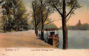 Lake Drive, Eldridge Park, Elmira, New York, Early Postcard, Used in 1907