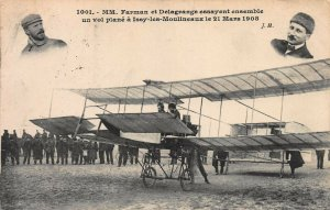 Early Aviators, Fayman and Delagrange 1908 Bi-Plane, Early French Postcard