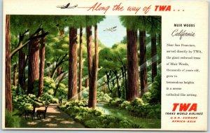 1950s TWA Trans World Airlines Ad Postcard MUIR WOODS California Linen Unused