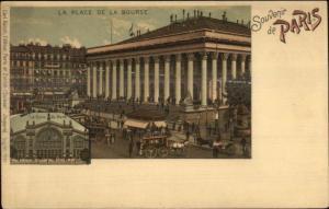Paris La Place De La Bourse Carl Kunzli Lithograph c1900 Postcard