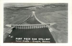Glasgow Montana~Long View Fort Peck Dam Spillway~Coles Real Photo Postcard