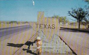 Baby In Front Of Texas State Sign Texas 1960