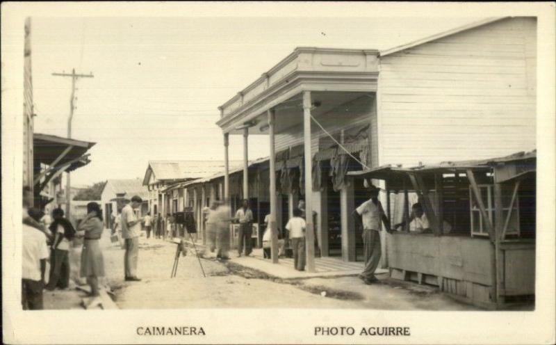 Caimanera Cuba Street View Camera on Tripod Real Photo Postcard spg