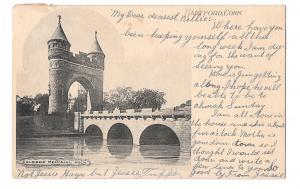 CT Hartford Soldiers Memorial Arch Vintage Albertype 1906 UDB Postcard