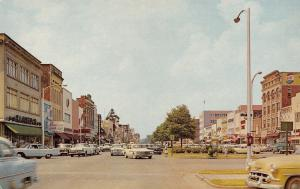 Columbus Georgia~Downtown Broadway Stores~HL Green Company~1950s Cars~Postcard