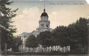 Ithaca Michigan~Gratiot County Court House~Man Mowing Lawn~c1910 Crawford's PC