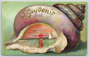 Gastropod Embossed Seashell~Souvenir~Sailing at Sunset~Reflection~Red Sun~c1907