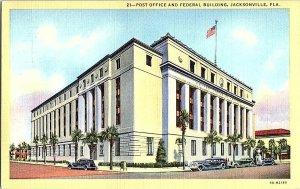 Post Office Federal Bldg. Jacksonville Fla. Florida Postcard Standard View Card