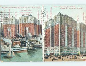 Divided-Back FRONT AND BACK SIDE OF HUDSON TERMINALS New York City NY G2445
