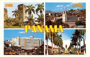 Panama Old Vintage Antique Post Card Via Espana, Iglesia Del Carmen Unused