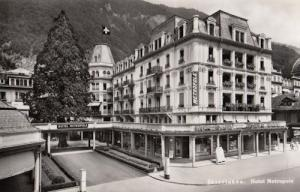 Interlaken Switzerland Hotel Metropole Real Photo Old Postcard