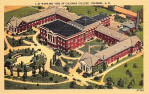 Columbia South Carolina~Airplane View Of Columbia College~1940 Postcard