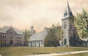 Kalamazoo Michigan: St Lukes Episcopal Church and Parish House~1910 Postcard