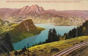 Switzerland Vierwaldstaettersee vom Rigi aus mit Pilatus und Buergenstock