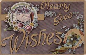 Flowers and Horseshoe With Holding Hands Hearty Good Wishes 1910