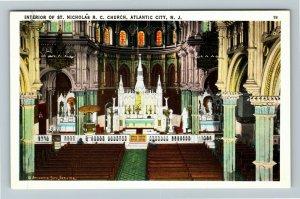 Atlantic City NJ-New Jersey St Nicholas Catholic Church Vintage Postcard
