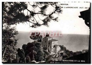 Modern Postcard Menton M of the Annunciation Monastery and the Sea view from ...