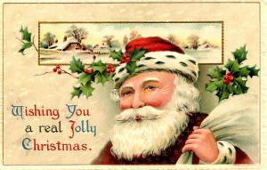 Greeting - Christmas. Santa Claus in Brown Coat (Winsch)