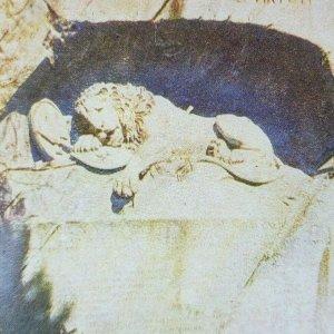 León De Lucerne Piscina Suiza Monumento Estatua Lago Roca Litho Estereoscopia