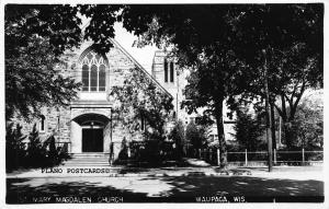 WAUPAGA, WISCONSIN MARY MAGDALEN CHURCH RPPC REAL PHOTO POSTCARD