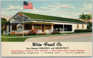 Sarasota, Florida Postcard WISE FRUIT CO. Roadside Oranges Grapefruit Linen 1946