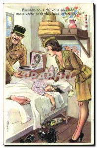 Old Postcard Ezxcusez vius us to wake your breakfast but would cool