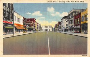 Port Huron Michigan Huron Ave Street Scene Linen Antique Postcard K22647