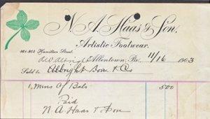 ALLENTOWN PA - N A HAAS & SON 1903 invoice / 9 x 4 1/2 / FOOTWEAR