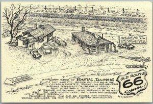 1990 ROUTE 66 Postcard Artist-Signed R. WALDMIRE North Edge of PONTIAC, Illinois
