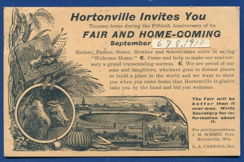 Hortonville Wisconsin wi Fair Home Coming 1910 postcard advertising postcard