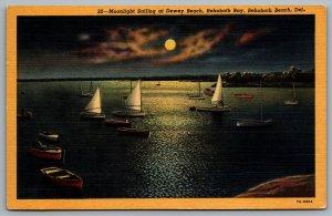 Postcard Rehoboth Beach DE c1937 Moonlight Sailing at Dewey Beach Rehoboth Bay