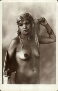 Nude Algerian Woman Crown Jewels Muslim Real Photo Postcard