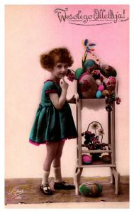 Easter , Young Girl , table of Eggs , hand Colored , RPC