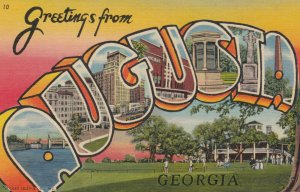 Large Letter Greetings AUGUSTA, Georgia , 1930-40s