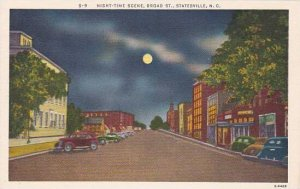 North Carolina Statesville Night Time Scene Broad Street