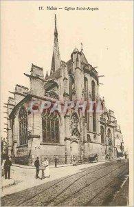 Postcard Melun Old Church St. Aspais