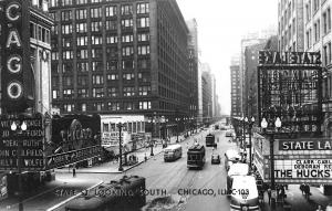 Chicago IL State Street Movie Theatre's Marquees Trolleys Buses RPPC