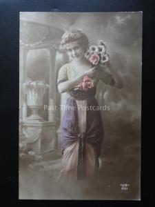 Greetings LADY with Bouquet of Flowers c1910 RP by J.K. 9001