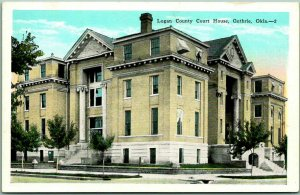 Guthrie, Oklahoma Postcard LOGAN COUNTY COURT HOUSE Building View KROPP c1930s