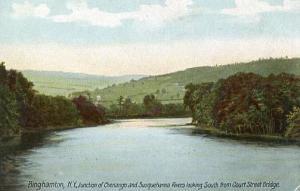 NY - Binghamton. Chenango & Susquehanna Rivers, south from Court Street Bridge
