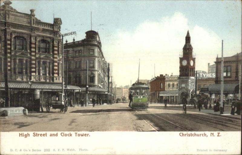 Christchurch New Zealand High St. Clock Tower c1905 Used Postcard